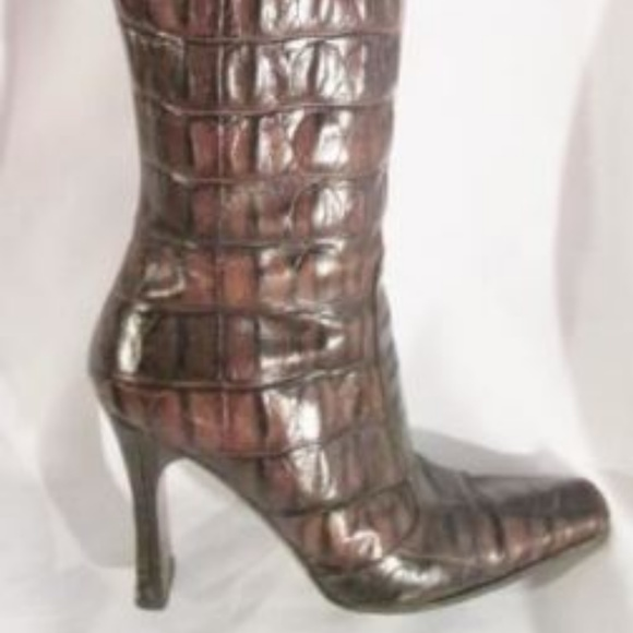 Made in Italy Shoes - Womens MADE IN ITALY Alligator Croc Leather Boots